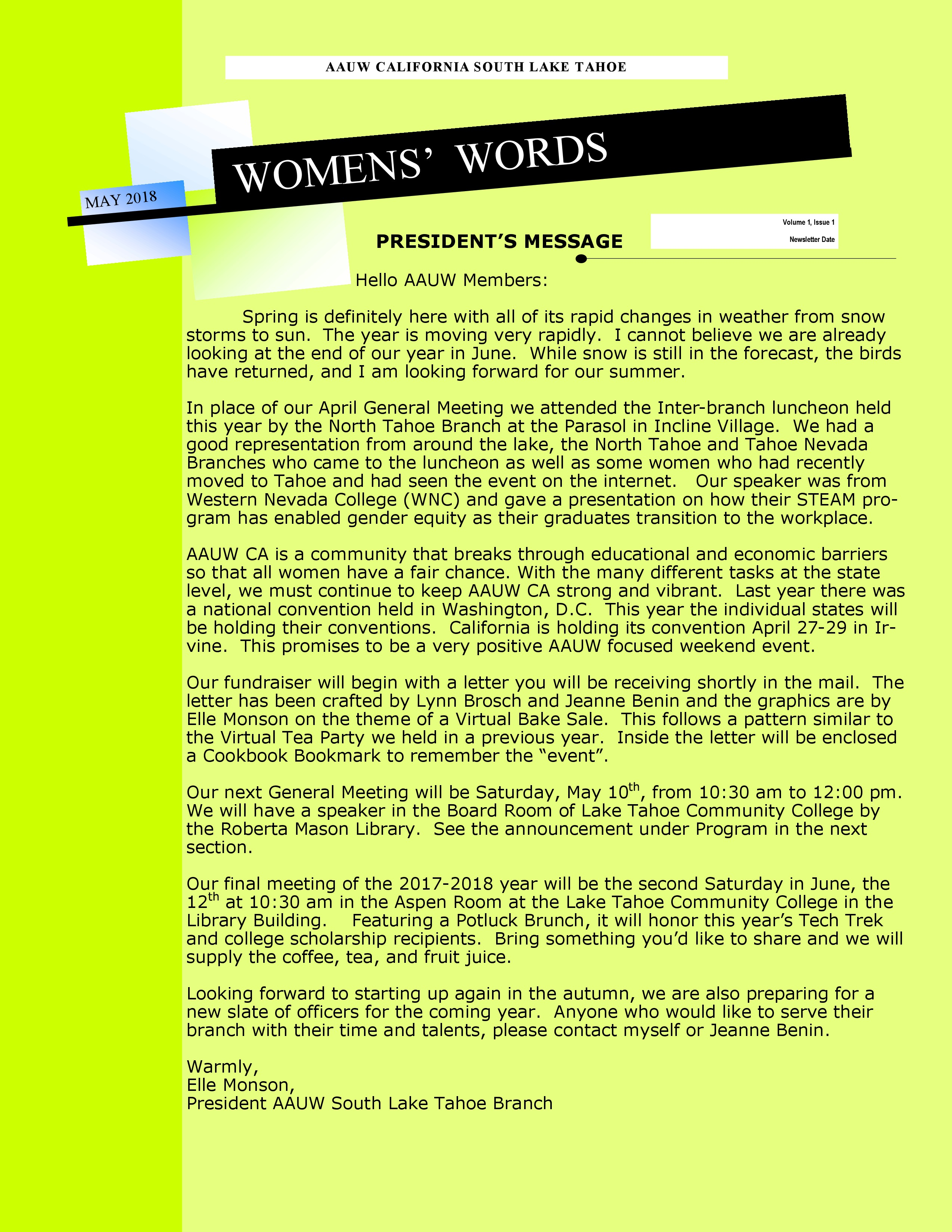 AAUW President's Message | South Lake Tahoe (CA) Branch